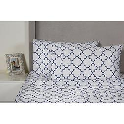 4 Piece Navy Blue White Geometric Quatrefoil Pattern Sheets