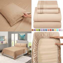 Nestl Deep Pocket King Sheets: 4 Piece King Size Bed Sheets