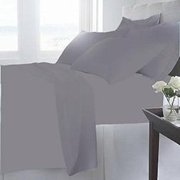 NEW Luxury Home 6-Pc 1600 Series Bed Sheets Set - Gray - Siz