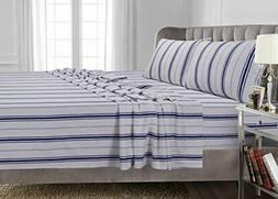 NEW Tribeca Living CAL KING Western Flannel SHEET SET Blue S