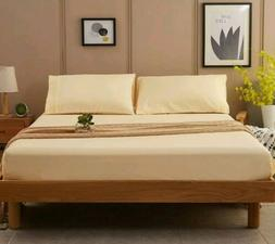New in Box Sonoro Kate Ivory/Yellow King Sheets Hypoallergen