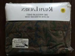NEW! Ralph Lauren King Flat Sheet Blue Brown Green Vintage D