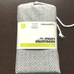 NEW -  Room Essentials Jersey Pillowcase Set Gray Chevron