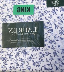 NEW Ralph Lauren KING Sheet Set EXTRA DEEP Royal Blue White