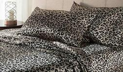 *NEW* Elite Home Luxury Satin Gold Leopard Print Sheet Set: