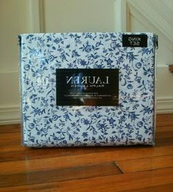 NEW Ralph Lauren Blue White Floral KING Cotton Sheet Set 4 P