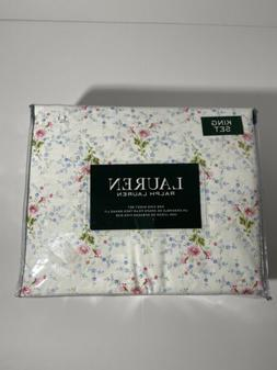 New Ralph Lauren Cotton 4pc White Pink Blue Green Floral She