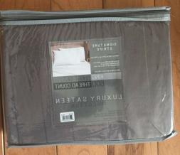 NEW Signature Stripe Gray King Sheet Set 600 Thread Count 10
