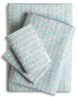 *NEW* Room Essentials Turquoise Tan Chevron Cotton Cal King