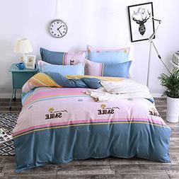 4pcs Novelty Design Combined Cotton Duvet Cover Set Flat She