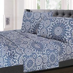 Oasis Blue Mandala Printed 4-Piece 1800 Thread Count Sheet S