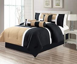 7 Piece Oversize TAUPE / BLACK / WHITE Color Block Comforter
