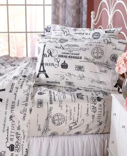 Paris Sheet Set King Queen Full or Twin Size Bedding Eiffel