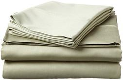 Percale King Size 300 Thread Count Solid Sage Sheet Set 100