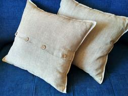 Pillow case with Buttons/Washed/100% Flax/King Queen Standar