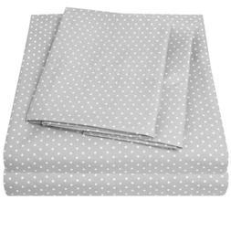 1800 Count Pin Dot Print 4 Piece Sheet Set Sweet Home Collec