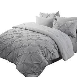 Bedsure Pinch Pleat Down Alternative 8 Piece Comforter Set K