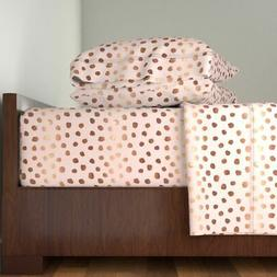 Pink Dots Dot Rose Gold Copper Metallic 100% Cotton Sateen S