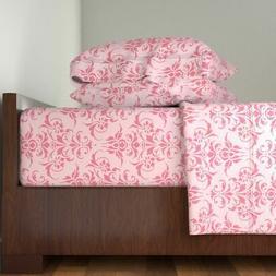 Pink Rose Damask Victorian Romantic Girl Cotton Sateen Sheet