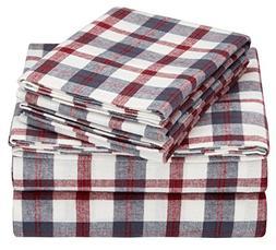 Pinzon 160 Gram Plaid Flannel Sheet Set - Cal King, Red/Grey