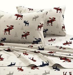 TRIBECA LIVING PLRE170SHEETKI Plaid Moose Printed Flannel De