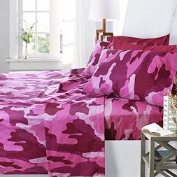 Printed Bed Sheet Set, King Size - Pink Camouflage - By Clar