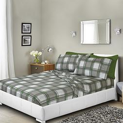 Printed Bed Sheet Set, King - Green and Gray Plaid - By Clar