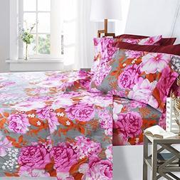 Clara Clark Printed Bed Sheet Set, King Size - Pink Peony -