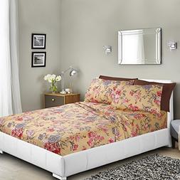 Nestl Bedding Printed Bed Sheet Set, Split King - Pink Roses