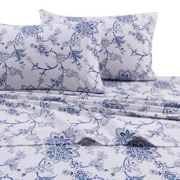 Printed Flannel 4 Piece Floral Sheet Set by Tribeca Living -
