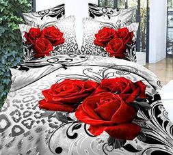 Ammybeddings Queen Size Duvet Cover Sets,3D Flower Luxury Re