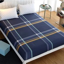 Queen Fitted Sheet Plaid Bed Sheet Microfiber Fabric <font><