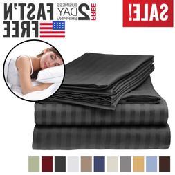 Queen Size 4 Piece Luxury Stripe Sheet Bedding Italian Doubl