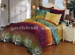 rainbow tree bedding set: duvet cover set or sheet set or ac