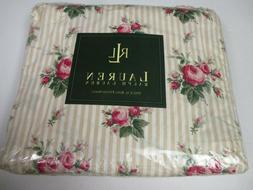 Ralph Lauren Marseilles Stripe Beige Rose Floral Fitted Shee