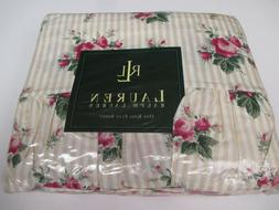 Ralph Lauren Marseilles Stripe Beige Rose Floral Ruffled Fla