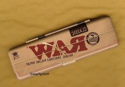 RAW Rolling Papers KING SIZE SLIM Metal Tin Storage Case - P