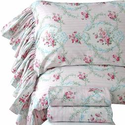 Queen's House Red Roses Print Bed Sheet Set for Girls 4-Piec
