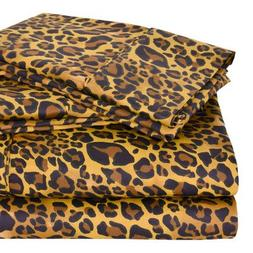 Regal Collection 300 Thread-Count Leopard Print King Sheet S