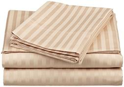 Adjustable King Bed Sheets 5 Pieces Beige Stripe 100% Egypti