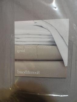 Room&Board Sateen King Sheet Set,  Grey,   NEW