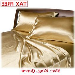 Satin Charmeuse Sheet Set Queen King Soft Silk Feel Bedding