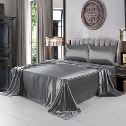 satin sheets set fitted flat sheet silky