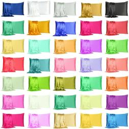 Satin Silk Pillowcase Pillow Case Cover King Queen Standard