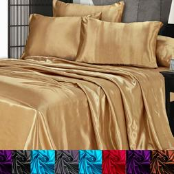 Satin Silky Sheet Set Queen/King Size Flat Fitted Pillows 50