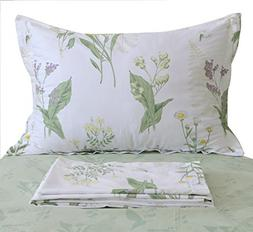 FADFAY Shabby Green Floral Sheet Set Green Yellow Purple Blu
