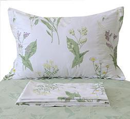FADFAY Shabby Green Floral Sheet Set Green Yellow Purple Blu