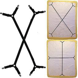 2PCS Bed Sheet Suspenders Straps Adjustable Crisscross Holde
