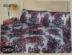 Sheet King Set 4 Pcs Bedding Cover Bed Fitted Flat brown 900