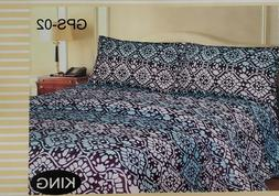 Sheet King Set 4 Pcs Bedding Cover Bed Fitted Flat blue 900